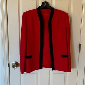 Vintage Oleg Cassini Blazer - Red/Black - Size 10